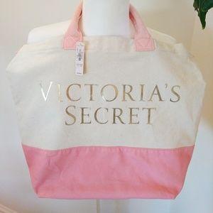 NWT Victoria's Secret Canvas Gold Logo Bag